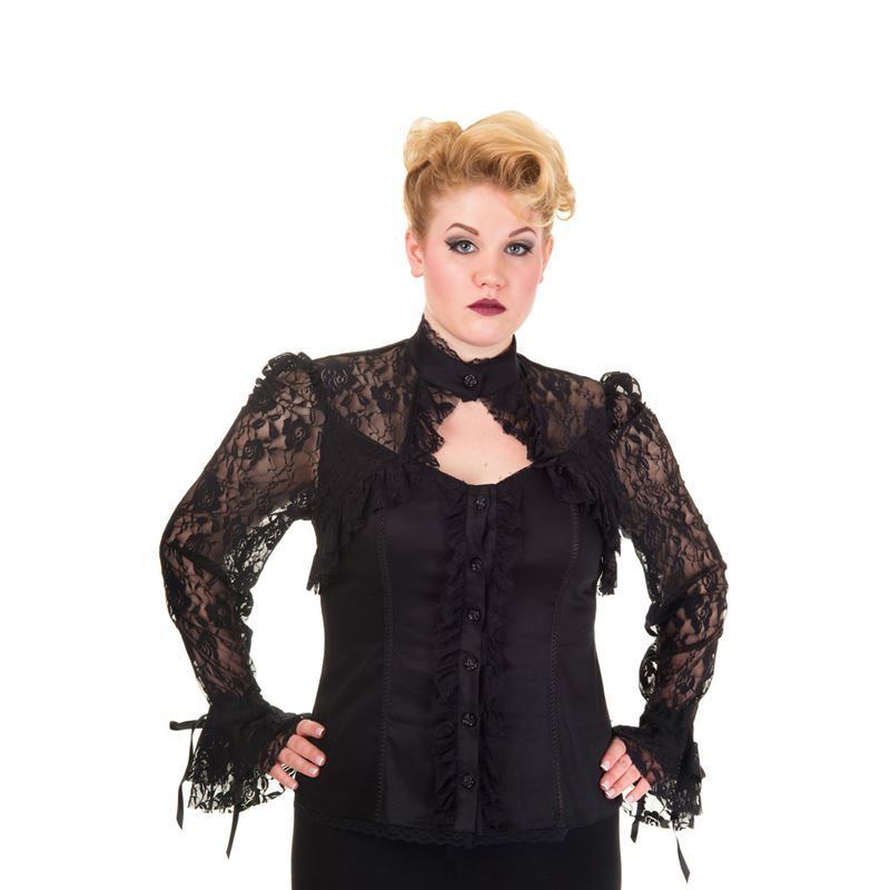 Banned Shades of Smoke Black Lace Corset Top