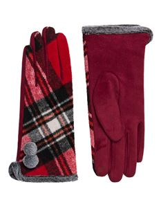 Pia Rossini Vintage Style Bonnie Red Tartan Check Glove