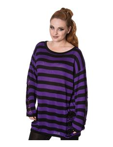 Banned Touch Break Striped Knit Baggy Jumper