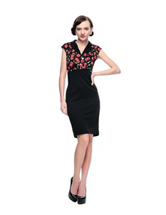 Poisoned 50s Cherry Black Wiggle Dress