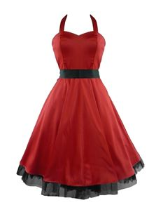 H&R London 50's Satin Cocktail Party Dress Red