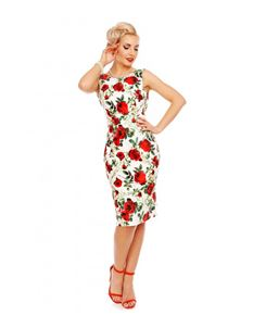 Dolly & Dotty Naomi Floral Scoop Back Wiggle Dress