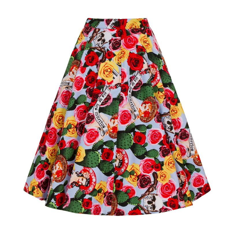 Hell Bunny Mexico Cactus Floral 50s Circular Skirt