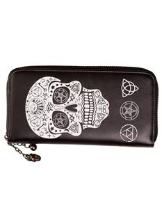 Banned Pentagram Skull Occult Alternative Wallet Purse Black/White