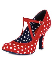 Ruby Shoo Jessica Polka Dot Shoes Red White Spots