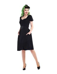 Collectif 40s Gilly Black Velvet Swing Evening Dress