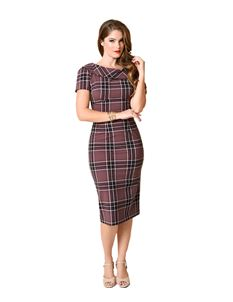 Stop Staring! Siri Plum Plaid Wiggle Dress