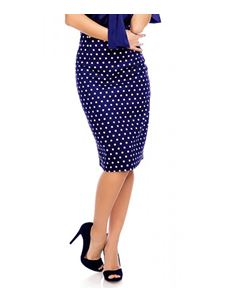 Dolly And Dotty Blue Polka Dot Falda Chic Pencil Skirt