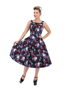 Hearts & Roses Black Blossom Floral Swing Dress