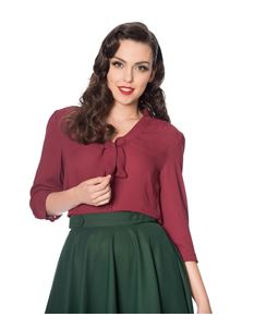 Banned 40s Burgundy Perfect Pussy Bow Crepe Blouse