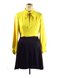 True Vintage 1970's Yellow And Black Mini Dress