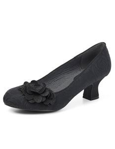 Ruby Shoo Petra Embossed Rose Floral Black Court Shoes