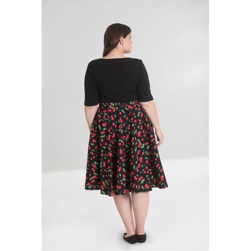 Hell Bunny Sweetie Cherry 50s Rockabilly Circular Skirt