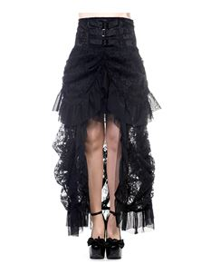 Banned Victorian Steampunk Lace Long Goth Black Skirt