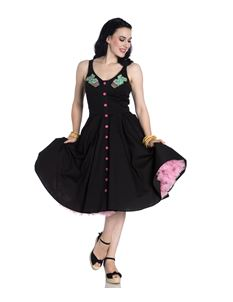 Hell Bunny Hatiora Cactus Summer Black Dress