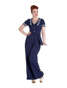 Hell Bunny Ambleside Nautical Vintage Style Jumpsuit