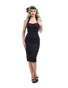 Collectif 1950s Sadie Black Halter Neck Pencil Dress