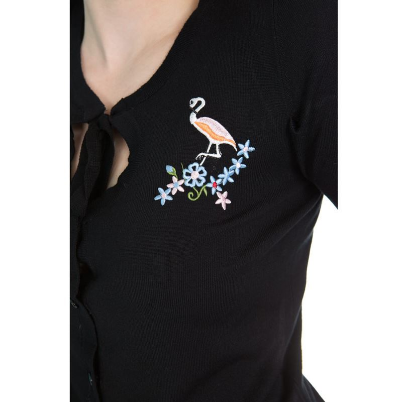 H&R London Jean 50s Style Flamingo Cardigan