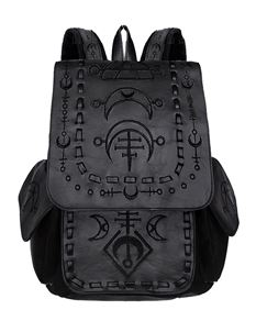 Restyle Runic Moon Alternative Black Backpack Bag