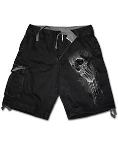 Spiral Direct Mens Bat Curse Skull Denim Cargo Shorts