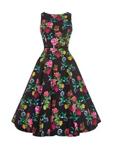 Lady Vintage 50's Enchanting Birds Floral Dress Black