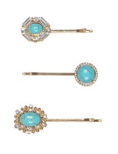 Powder Set Of Three Turquoise Mix Hair Slides