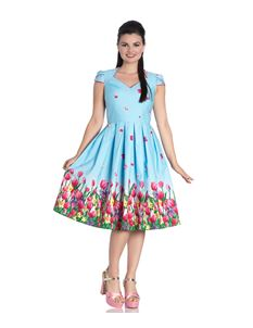 Hell Bunny Angelique 50s Style Tulip Floral Blue Dress