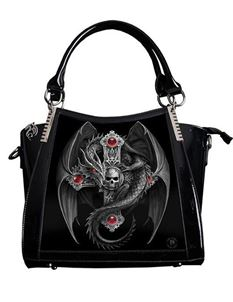 Anne Stokes 3D Gothic Guardian PVC Black Handbag