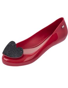 Zaxy Pop Heart Luxe Red Glittery Black Heart Flat Shoes