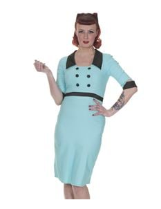 Whispering Ivy 50's Collar Wiggle Pencil Dress Turquoise