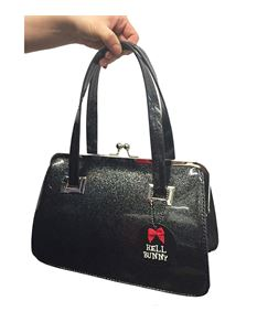 Hell Bunny Black Pearlescent Tippi Kiss Lock Bag