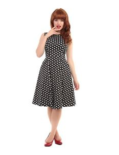 Collectif Hepburn Black & White Polka Dot Swing Dress
