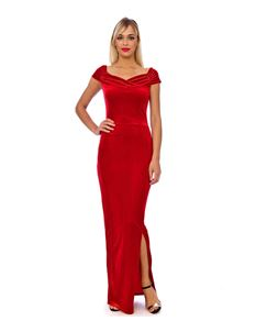 Bettie Vintage Classy Velvet Maxi Dress In Red