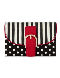 Ruby Shoo Garda Striped Polka Dot Spots Purse Black Red