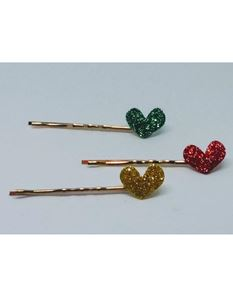 Said Lucy Set Of 3 Glitter Christmas Heart Clips