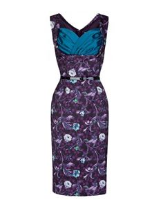 Lindy Bop 50's Vanessa Forest Floral Wiggle Pencil Dress Purple