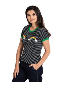 Hell Bunny Rainbow Clouds Striped Short Sleeve Top
