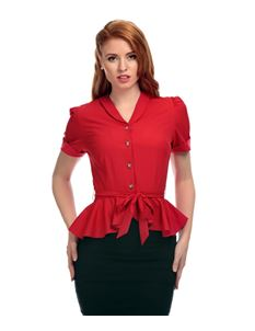 Collectif Satin Feel Red Peplum 40's Blouse