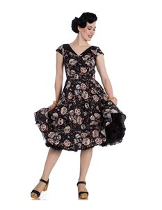 Hell Bunny Idaho Sugar Skull Floral 50s Black Dress