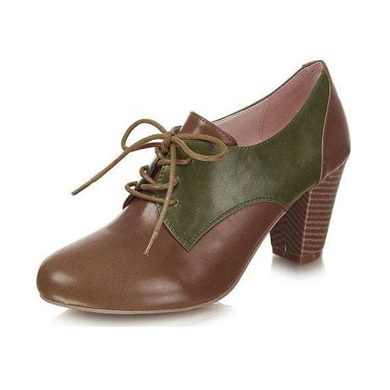 Collectif 40s Vera Brown Green Spectator Shoe Boots