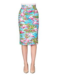 Victory Parade Pencil Skirt Flamingo Print