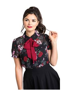 Hell Bunny Medusa Snake Floral Removable Bow Blouse Top
