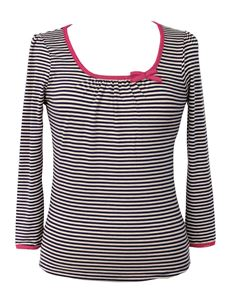 Friday On My Mind Sailor 3/4 Black & Beige Striped Top