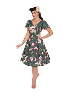 b7dacf3a92cc Hearts & Roses 50s Style Amour Swing Floral Grey Dress