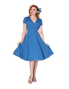 Sheen Sheena 1940's Style Tea Dress In Blue
