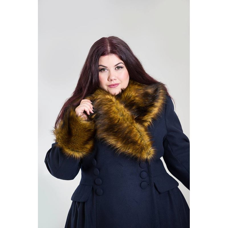 Hell Bunny Roxy Vintage Style Faux Fur Navy Blue Coat