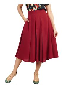 Eucalyptus 1940s A-Line Wide Pleated  Midi-Length Crepe Skirt