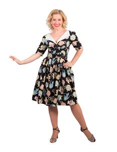 Victory Parade Revere Pleat Sleeved Teapot Print Dress