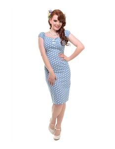 Collectif - Blue And White Polka Dot Wiggle Dress
