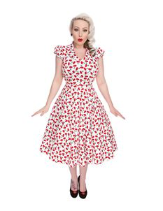 Hearts And Roses 50s Style White Cherry Blossom Dress